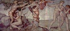Deckenfresko zur Schöpfungsgeschichte in der Sixtinischen Kapelle, Hauptszene: Ursünde und Vertreibung aus dem Paradies (Wikipedia)