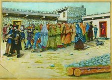 Shalom Koboshvili. Taking the bride to the bath house (Mikveh). watercolor on paper. 31.5 × 41.5cm (Wikipedia)