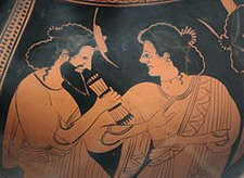 God council in Olympus: Hermes with his mother Maia. Detail of the side B of an Attic red-figure belly-amphora, ca. 500 BC, by Nikoxenos Painter