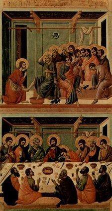 Maestà, Altarretabel des Sieneser Doms, Rückseite, Hauptregister mit Szenen zu Christi Passion, Szenen: Fußwaschung und das Letzte Abendmahl by Duccio di Buoninsegna