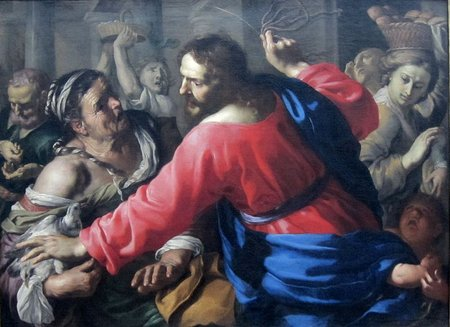 Bernardino Mei - Christ Cleansing the Temple - c. 1655