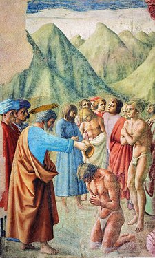 Cappella brancacci, Battesimo dei neofiti (restaurato), Masaccio