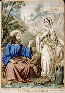Jesus and Samaritan at Jacob's Well; by N. Currier, between 1835 and 1856