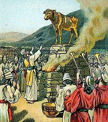Worshiping the golden calf, as in Exodus 32:1-35, illustration from a Bible card published 1901 by the Providence Lithograph Company, 1901